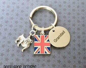 Grandad gift - British Bulldog keyring - Grandad keyring - Father's Day gift - Gift for Grandad - Bulldog keychain - Union Jack keyring