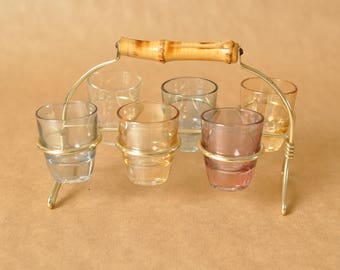 Mid Century Vintage Glass Caddy - six shot glasses - Ruhrglas Germany - Original brass wire rack with bamboo handle - 1950s or 1960s barware