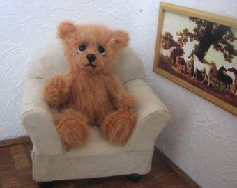 """cute Miniature Teddybear, bear, teddy, artist teddy,  """"Tobias"""" OOAK, 3,5 inches (9cm)"""