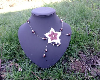 Pongee and pearl beads - Brown and White Flower necklace-