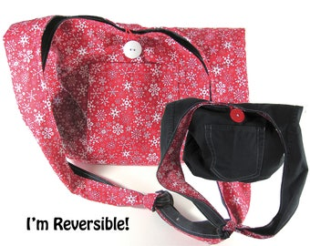 Christmas Hobo / Shoulder Bag / Boho Bag /Denim Purse /  Recycled from Jeans - Reversible Snowflakes