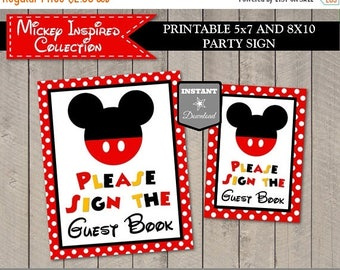 SALE INSTANT DOWNLOAD Printable Classic Mouse 5x7 and 8x10 Please Sign the Guest Book Party Sign / Classic Mouse Collection / Item #3304