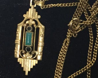 Exceptional Art Deco Gold filled Pendant Jade & Dark Blue Stones by Andreas DAUB