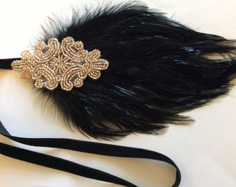 Great Gatsby Headband, champagne headpiece, black feather, 1920s flapper dress hair accessory, wedding bridal hair accessories bridesmaid