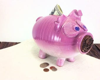 extra large pottery piggy bank for girls ceramic piggy bank red pink