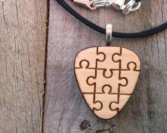 Autism Jewelry-Autism Awareness Guitar Pick Pendant-Autism Puzzle Piece Necklace-Autism Art-Art Jewelry-Laser Cut Pendant-Autism Gift