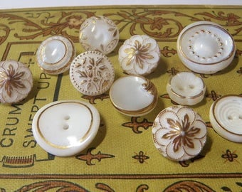 11 Opaque Milk Glass Buttons with Gold Trim White Glass Buttons