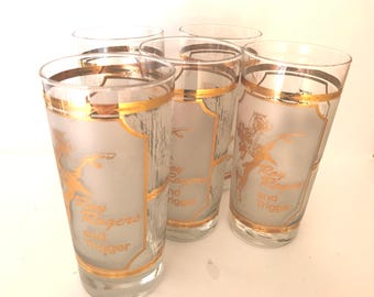 Vintage (5) Pc Culver Glass Roy Rogers and Trigger -Frosted  - 22K Gold encrusted High ball Tumblers