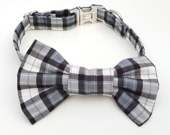 Dog Collar - Black and White Plaid Check Dog Collar and Bowtie Set