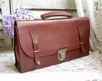French vintage small leather briefcase. Leather schoolbag. Pencil case. Artists paintbrush bag. Half briefcase. Document bag. Boho. Man bag