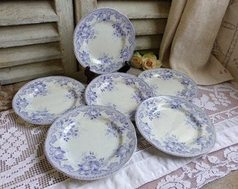 Set of 6 antique french lavender transferware dessert plates. Jeanne d'arc living. French Nordic decor. Lilac transferware.