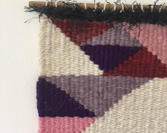 Handmade Woven Wall Hanging // Abstract - Purple - Pink - White - Black - Silver // Fiber Art Textile thebastractdaily