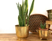 Vintage Planter | Brass Ribbed Pot | Boho Home Decor