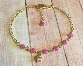 Gold sweetheart bracelet, heart bracelet,valentines day bracelet