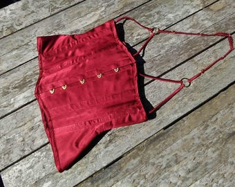 Red Silk Underbust with Harness