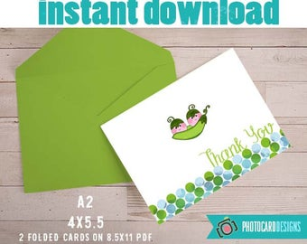 Baby THANK YOU card, 2 peas pod Thank You, Baby Shower, Baby, Thank You Note, Thank You A2, Digital, Printable, Party, INsTANT DOWNLOAD