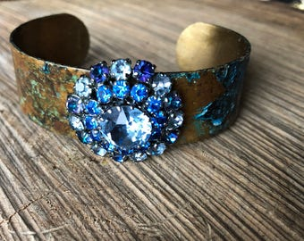 Brass cuff rhinestone bracelet blues greens and Violet