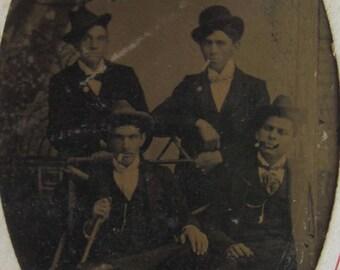 Smokers Club - Original 1880's Handsome Smoking Gentlemen Studio Tintype Photograph - Free Shipping