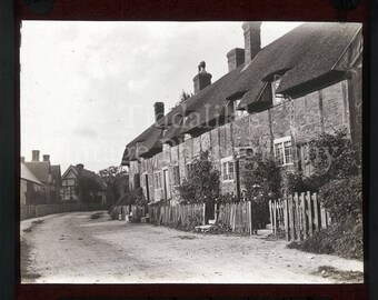 Magic Lantern Slide Thatched Cottages at Ashow Warwickshire England