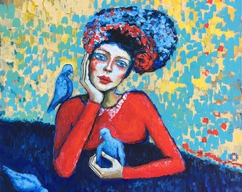"Original ""Blue birds and me"" 16""x16"" acrylics on canvas"