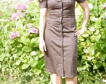 Cotton brown vintage 50's dress size Medium OOAK Made in Italy
