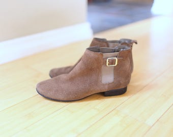 vintage brown suede buckle oxfords ankle boots womens 6 1/2