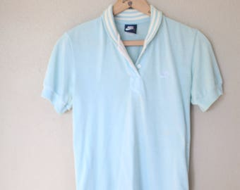 vintage light turquoise  blue nike polo t shirt