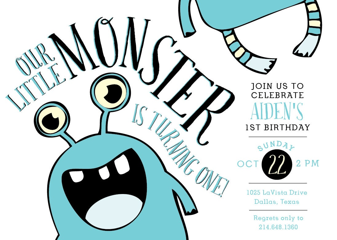 Printable Our Little Monster birthday invitation - Fall birthday ...