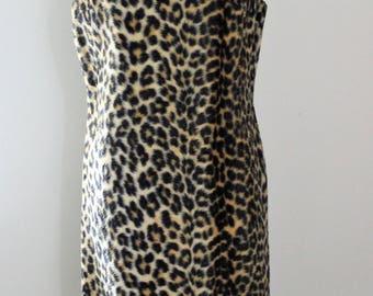 Fuzzy 1960s Leopard Print Shift Dress