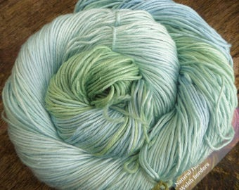 MULBERRY SILK DK, pure silk, hand dyed, 100 gms, 200 mts Mollycoddle Yarns indie dyer, duck egg