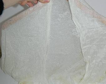 Retro 1970s Cream Lace Triangle Shawl with Fringe