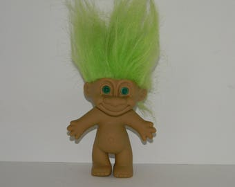 Vintage Russ Green Hair Green Eyes Troll Doll 5""
