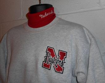 Vintage 90s Majestic Nebraska Cornhuskers Turtleneck Sweatshirt Large