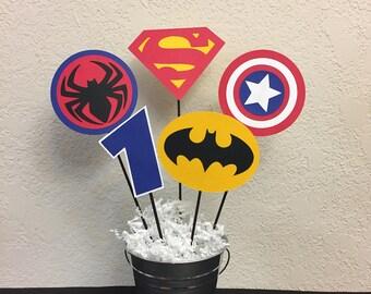 Super Hero Birthday Centerpiece - Superman, Spiderman, Batman and Captain America
