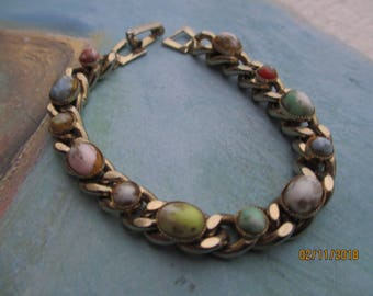 Beautiful Vintage Coro Gem Bracelet, Colorful Gem Coro Gem Stone Bracelet
