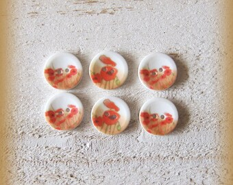 Set of 6 porcelain buttons of 18mm