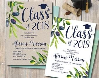 Graduation Invitation, Graduation Announcement 2018, Olive Green Graduation Invitation, Double-Sided, Watercolor flowers