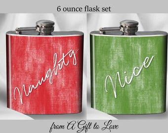 SALE - Hip Flask Set - Naughty and Nice Flask Set - Christmas  Flasks - Alcohol - Liquor - Stainless Steel - 6 oz.-  - Cyber Monday