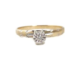 Vintage 10K Yellow Gold Diamond Engagement Ring, Illusion Ring, Size 10