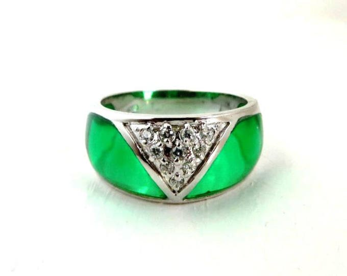 Green Enamel Dome Ring, Vintage Enamel, CZ Wide Band Ring Size 6