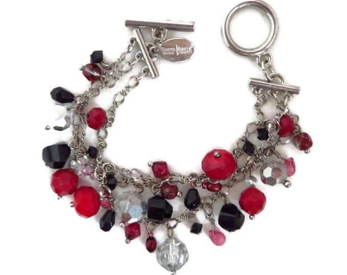 White House Black Market Beaded Bracelet, Dangling Multicolor Beaded Chain Link Bracelet