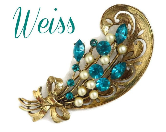 Weiss Brooch - Vintage Rhinestone Faux Pearls Brooch, Gold Tone Flower Signed Weiss Jewelry, Perfect Gift, Gift Box, FREE SHIPPING