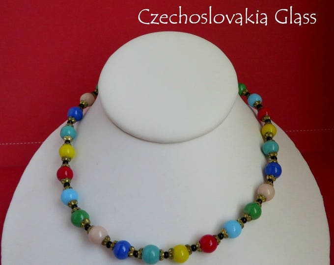 Czechoslovakia Glass Necklace - Vintage Multicolor Beaded Choker, Gift for Her