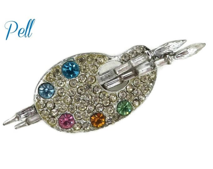 Pell Rhinestone Brooch - Vintage Artist Palette Brooch Pin, Gift for Her, Gift Boxed