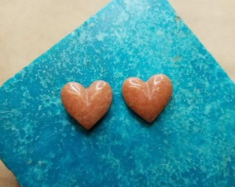 Pink Alabaster Heart Cabochon Pair/ backed