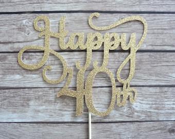 Happy 40th Cake Topper - Gold glitter Cake Topper, Forty cake topper, Age cake topper, Gold Decor, Number Cake Topper