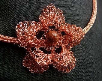 Irish flower necklace. Flower pendant. copper necklace. gemstone necklace. brown flower necklace. metal flower necklace. Copper flower.