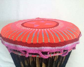 djembe hat, djembe bag, drum hat, djembe protection, gift for musician, gift for drummer, red drum top, red djembe cover, cover percussion,