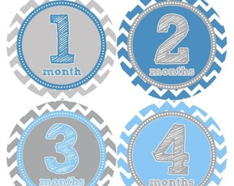 Baby Month Stickers, Baby Boy Gift, Milestone Stickers, Monthly Sticker, Monthly Baby Boy Stickers, Baby Month Milestone Stickers 222