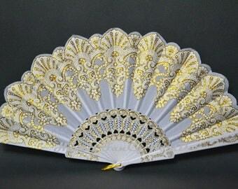 Hand Fan, Spanish folding fan, white and gold, Dancing fan
